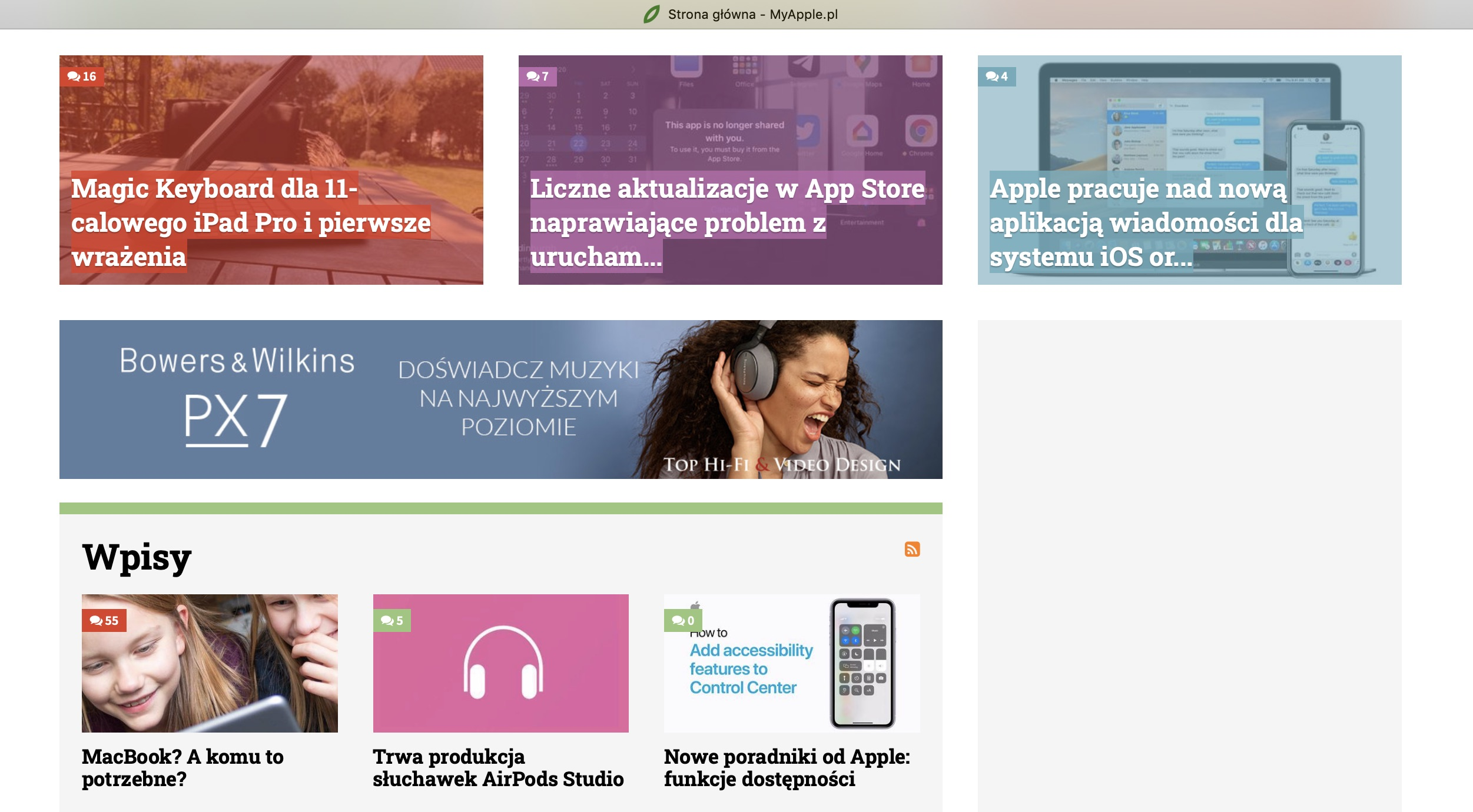 MyApple.pl website. Article links in the top and bottom parts, a banner ad in the middle that seems to blend in.
