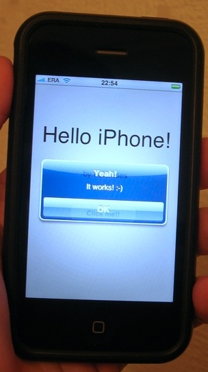 Hello iPhone (screenshot of my first application)
