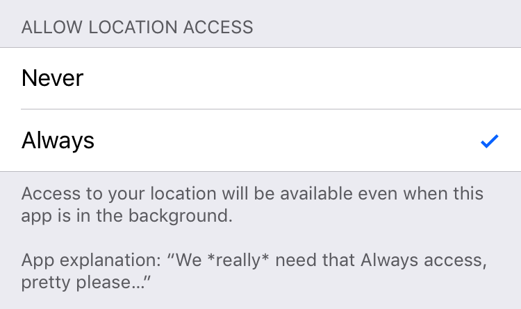 Allow Location Access: Never / Always