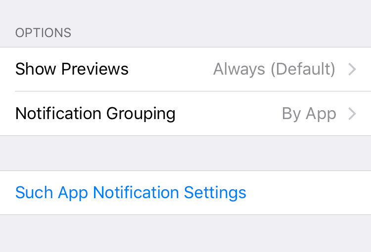 In the settings app: Show Previews / Notification Grouping / Such App Notification Settings