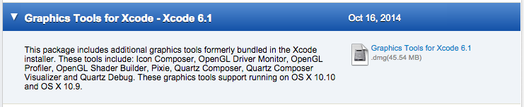 Graphics Tools for Xcode - Xcode 6.1 - Oct 16, 2014