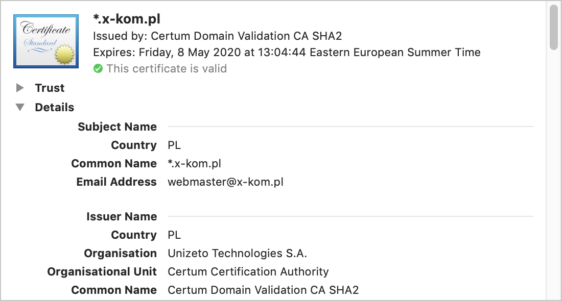 Details of certificate for x-kom.pl showing Country = PL and webmaster's email address