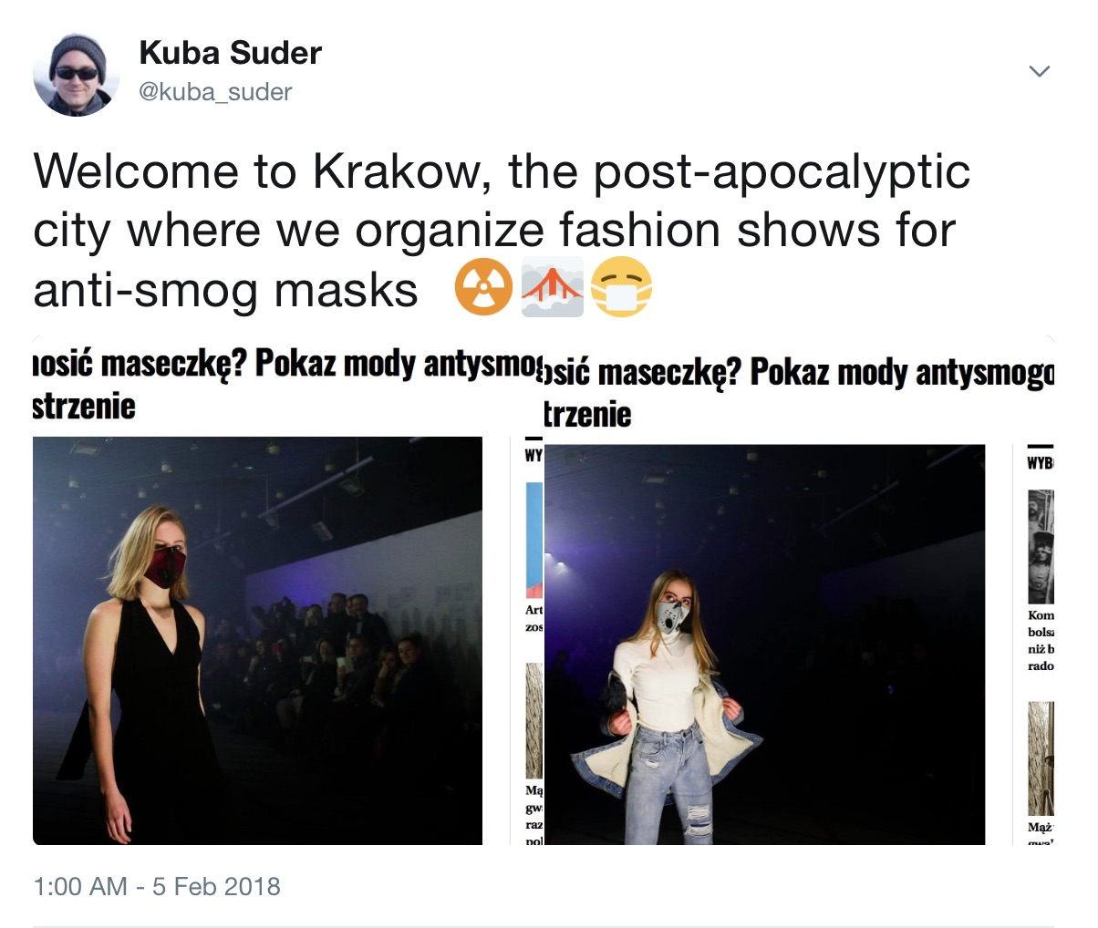 Welcome to Krakow, the post-apocalyptic city where we organize fashion shows for anti-smog masks